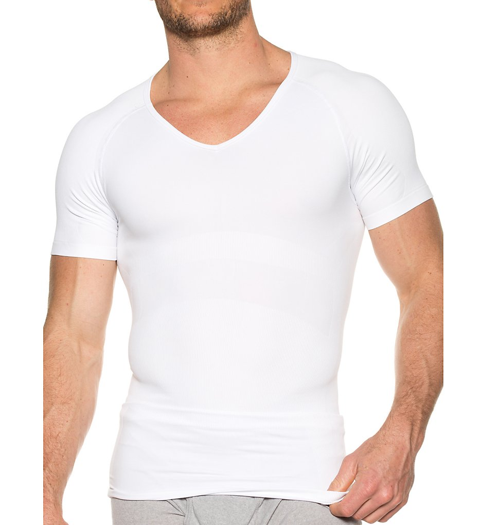 f7265818 Svelte Shapewear 360 Stretch Compression V-Neck Tee (7106). Look slim and  sleek when you wear this soft compression t-shirt under your shirts.